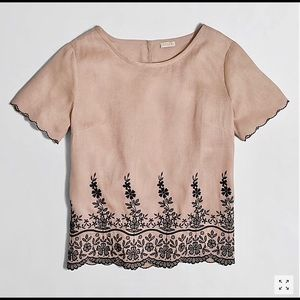 J.Crew Scalloped Embroidered Linen Top